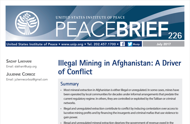 Illegal Extraction of Minerals as a Driver of Conflict in Afghanistan