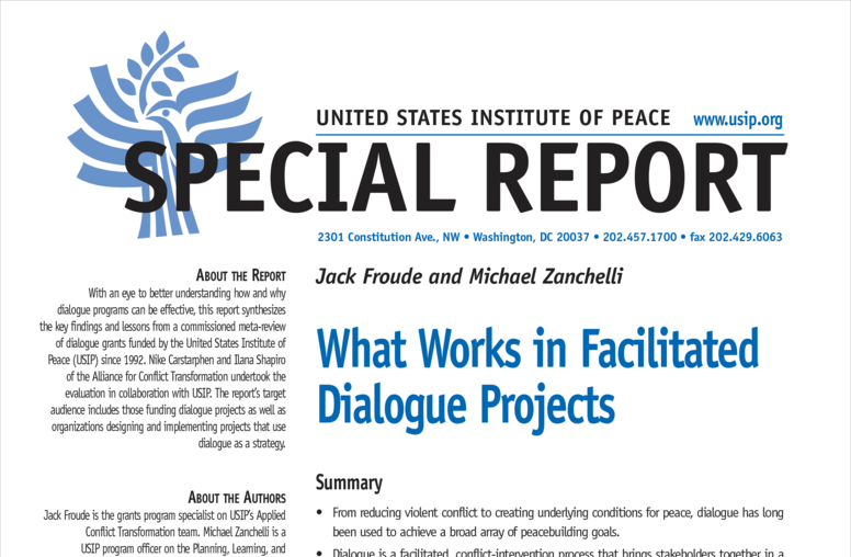 What Works in Facilitated Dialogue Projects