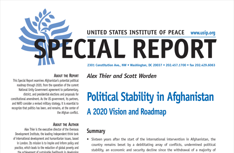 Political Stability in Afghanistan: A 2020 Vision and Roadmap
