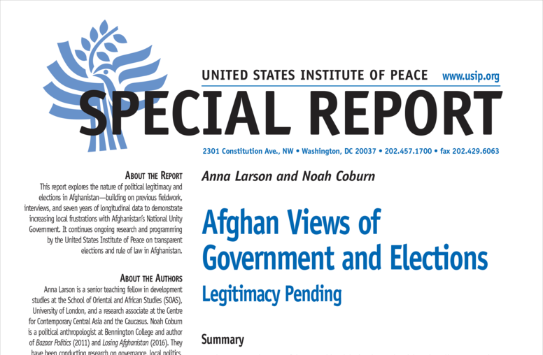 Afghan Views of Government and Elections: Legitimacy Pending