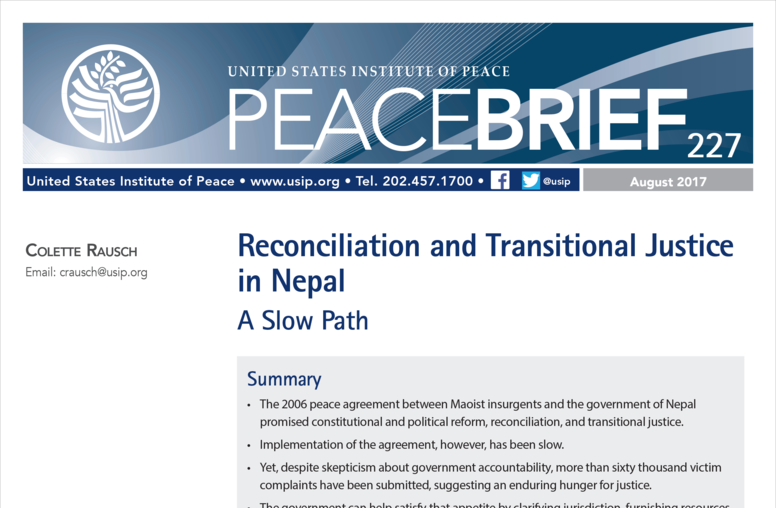 Reconciliation and Transitional Justice in Nepal: A Slow Path