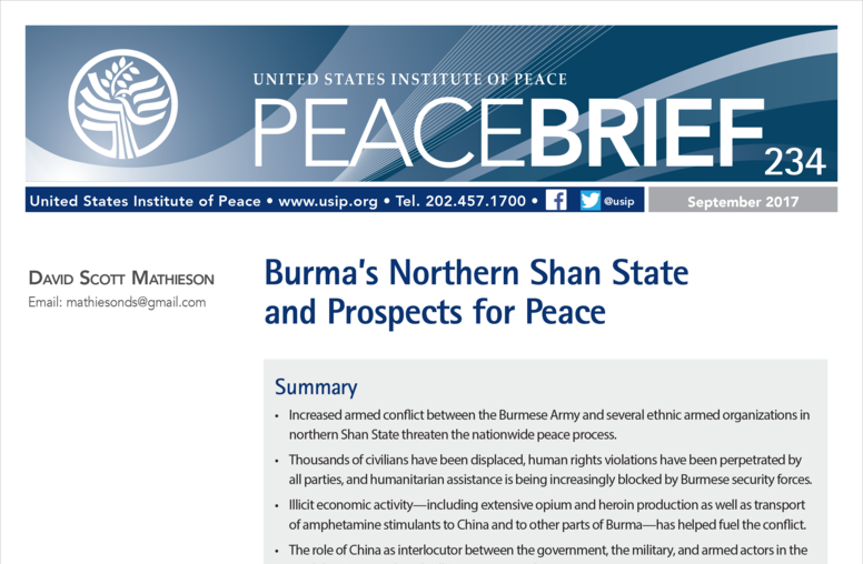 Burma's Northern Shan State and Prospects for Peace