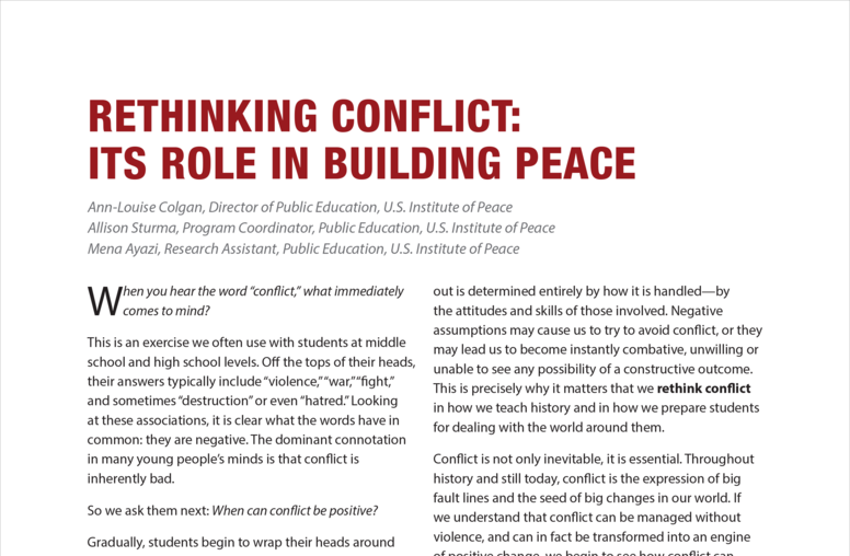 Rethinking Conflict: Its Role in Building Peace