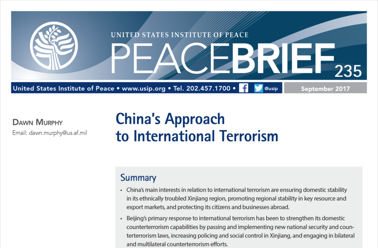 China's Approach to International Terrorism