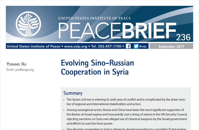 Evolving Sino-Russian Cooperation in Syria