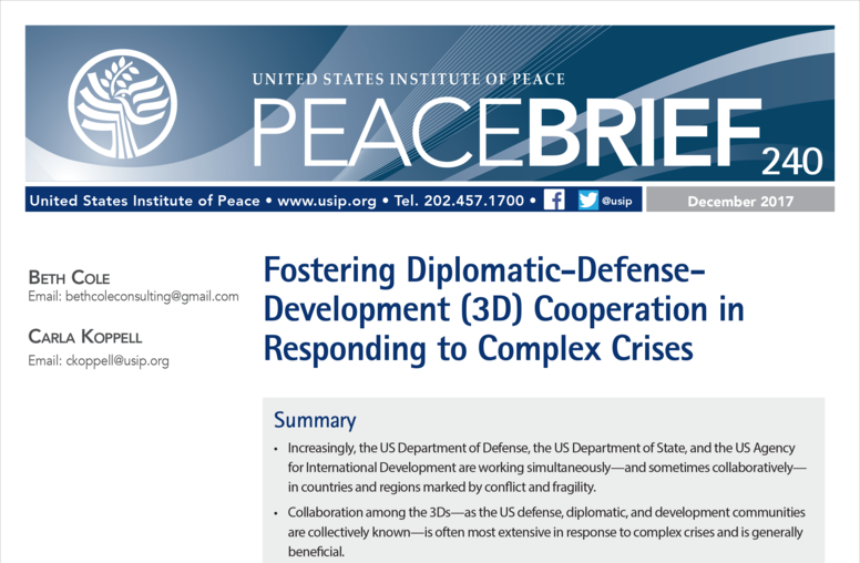 Fostering Diplomatic-Defense-Development (3D) Cooperation in Responding to Complex Crises