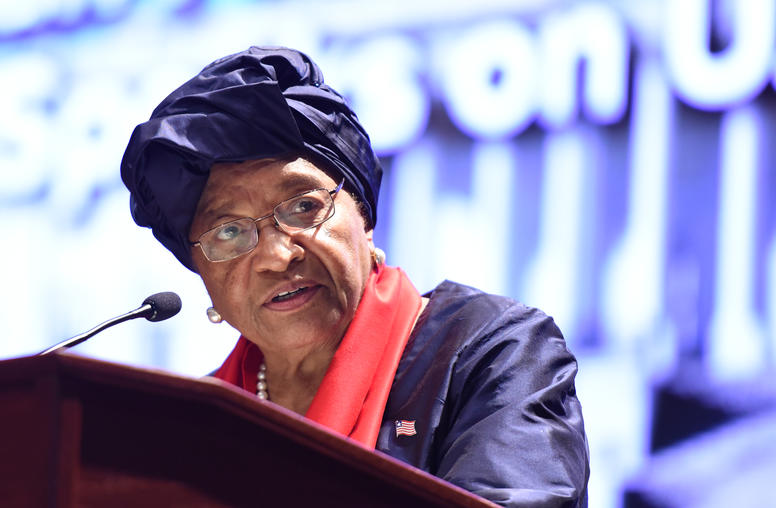 Liberia's Sirleaf Calls on U.S. to Remain Global Leader