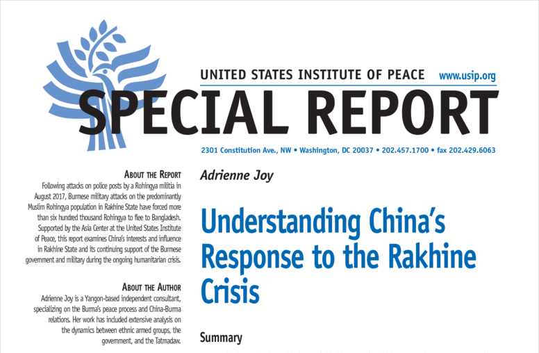 Understanding China's Response to the Rakhine Crisis