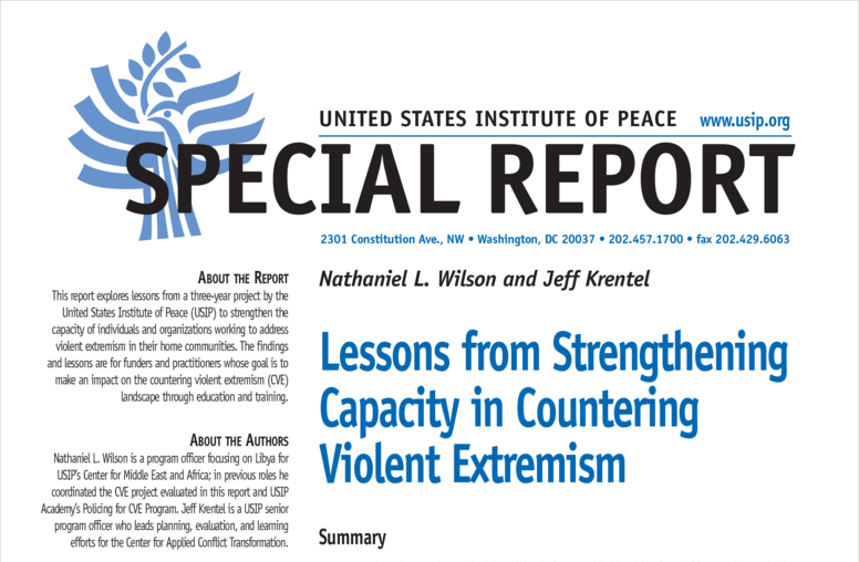 Lessons from Strengthening Capacity in Countering Violent Extremism