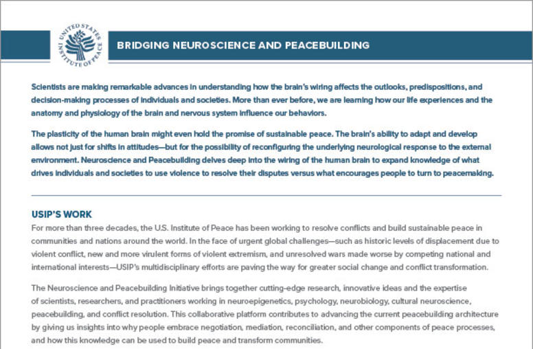 Bridging Neuroscience and Peacebuilding