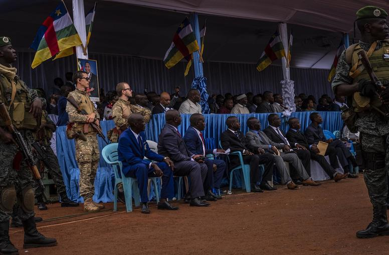 Russian mercenaries guard the president and other government officials during May Day celebrations in Bangui, Central African Republic, May 1, 2019. (Ashley Gilbertson/The New York Times)