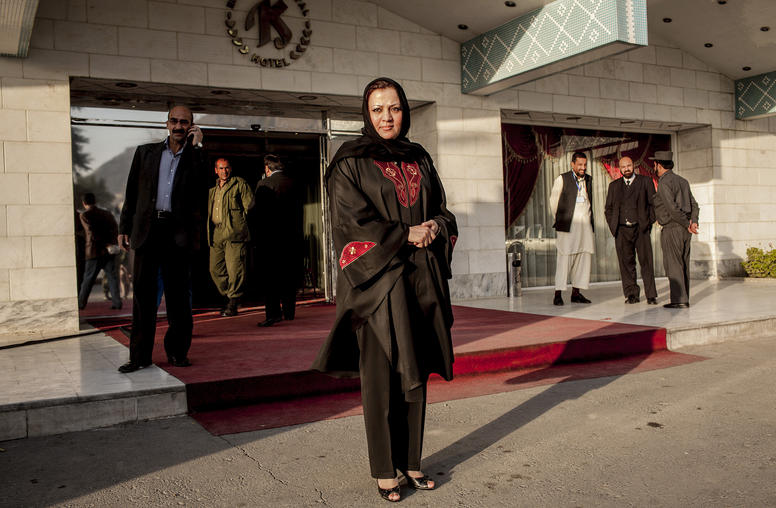Maria Bashir, the chief prosecutor of the Afghan province of Herat, outside a hotel during a conference for Afghan prosecutors in Kabul. (Bryan Denton/The New York Times)