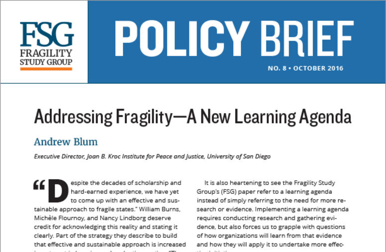 Addressing Fragility—A New Learning Agenda