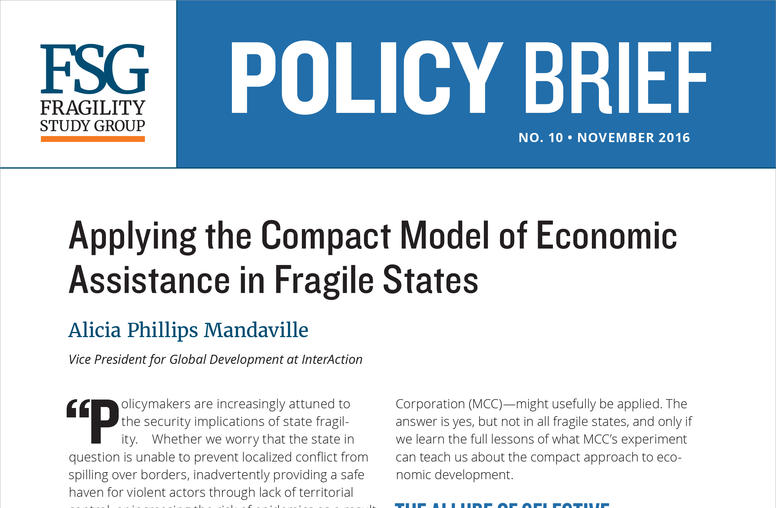 Applying the Compact Model of Economic  Assistance in Fragile States