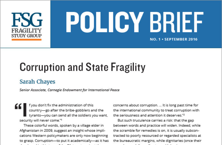 Corruption and State Fragility
