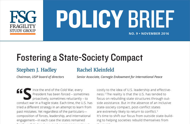 Fostering a State-Society Compact