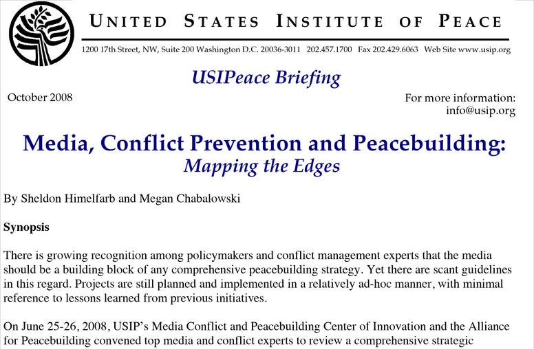Media, Conflict Prevention and Peacebuilding: Mapping the Edges