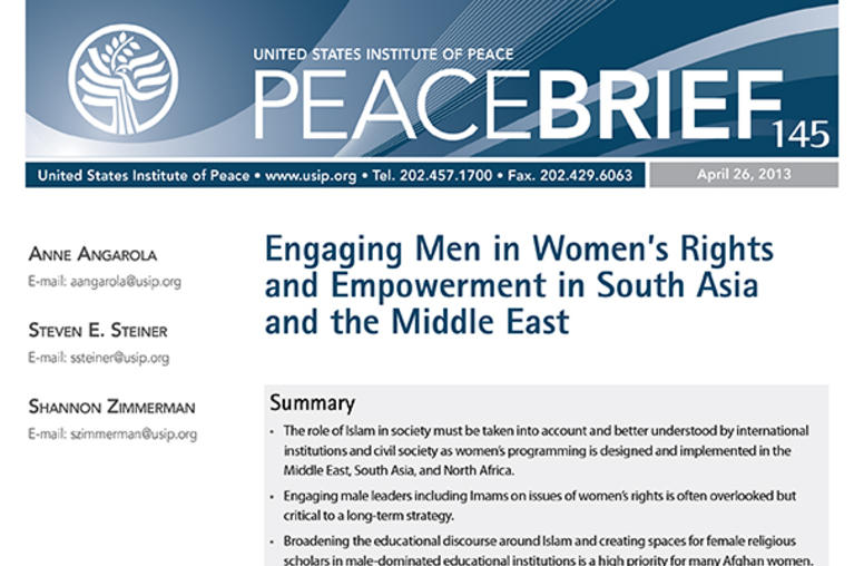 Engaging Men in Women's Rights and Empowerment in South Asia and the Middle East