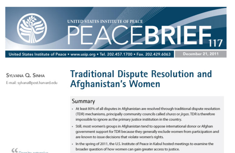 Traditional Dispute Resolution and Afghanistan's Women