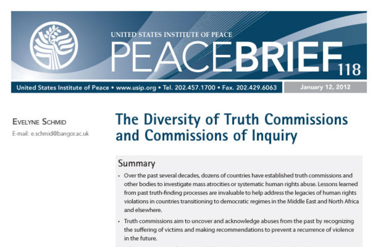 The Diversity of Truth Commissions and Commissions of Inquiry