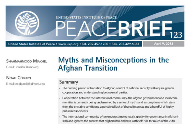 Myths and Misconceptions in the Afghan Transition