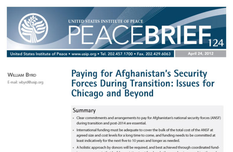Paying for Afghanistan's Security Forces During Transition: Issues for Chicago and Beyond