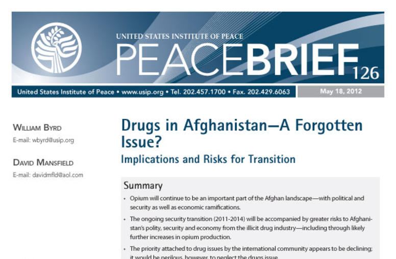 Drugs in Afghanistan—A Forgotten Issue?