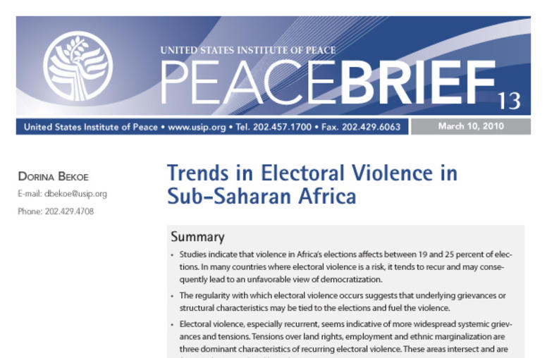 Trends in Electoral Violence in Sub-Saharan Africa
