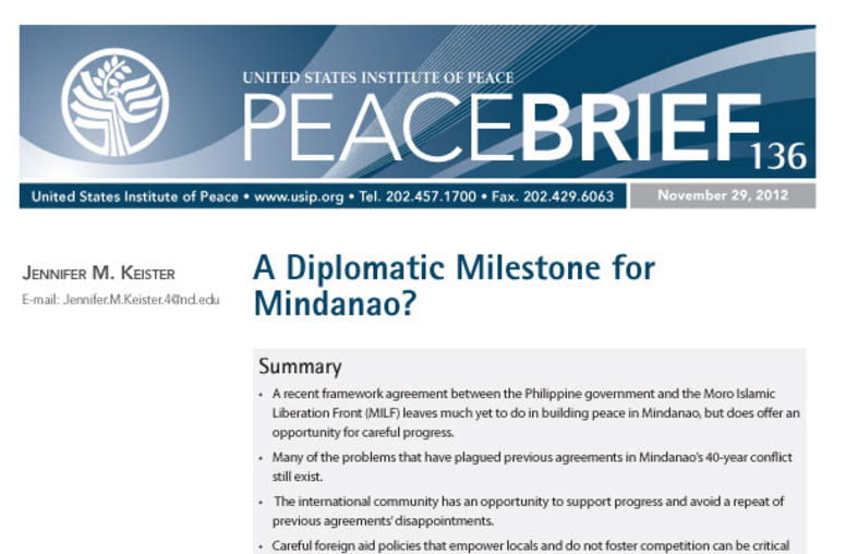 A Diplomatic Milestone for Mindanao?