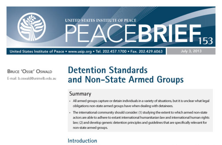 Detention Standards and Non-State Armed Groups