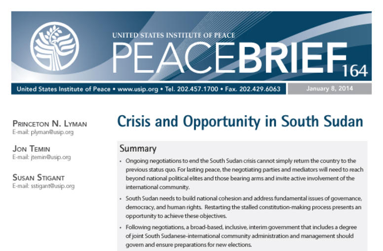 Crisis and Opportunity in South Sudan