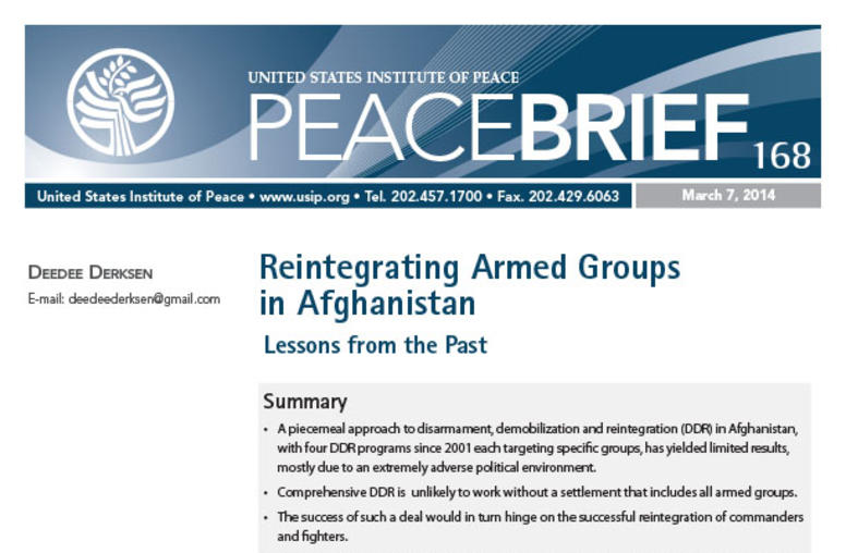 Reintegrating Armed Groups in Afghanistan