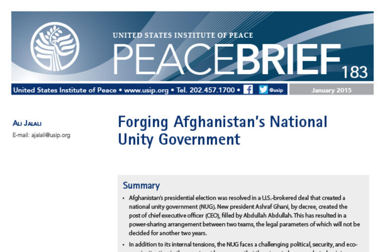 Forging Afghanistan's National Unity Government