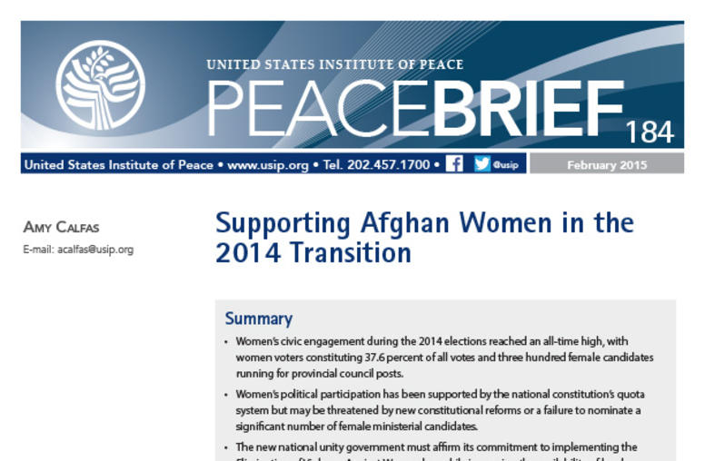 Supporting Afghan Women in the 2014 Transition