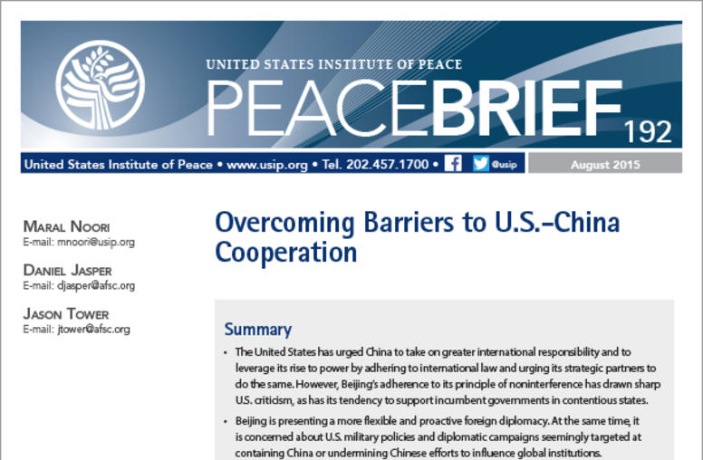 Overcoming Barriers to U.S.-China Cooperation