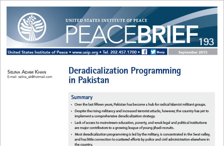Deradicalization Programming in Pakistan