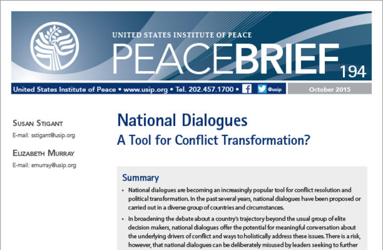 National Dialogues: A Tool for Conflict Transformation?