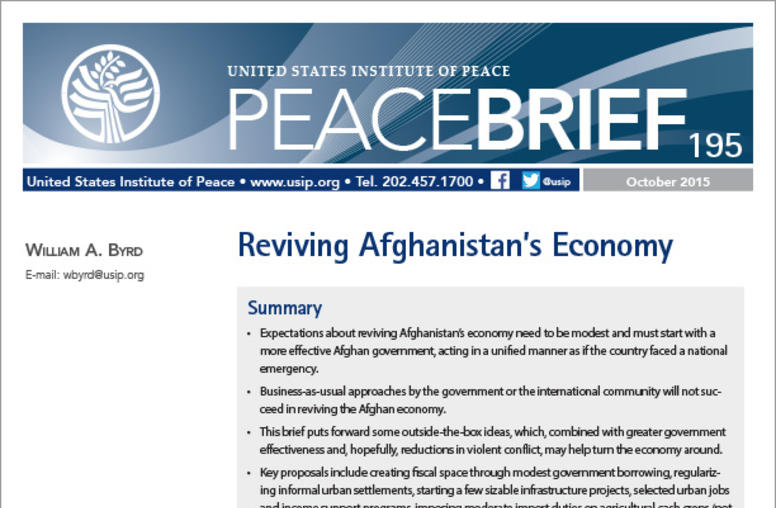 Reviving Afghanistan's Economy