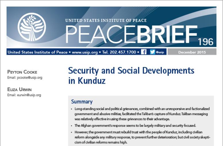 Security and Social Developments in Kunduz