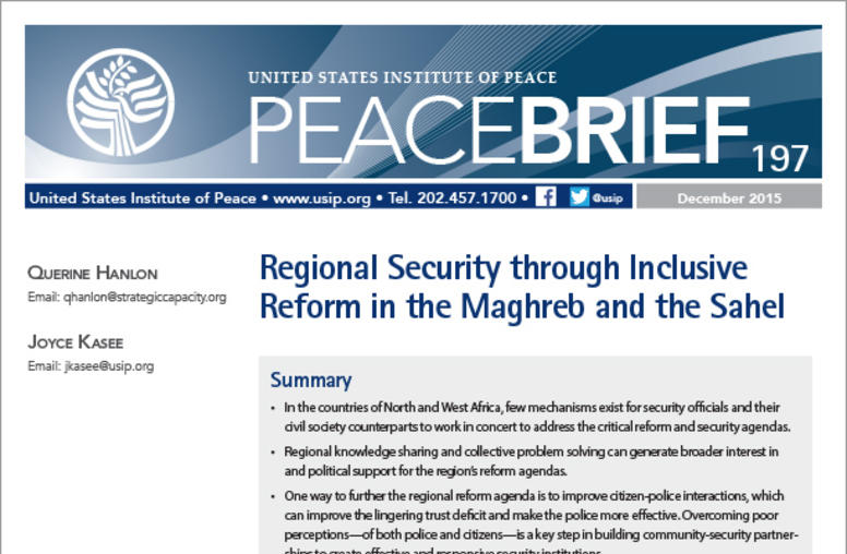 Regional Security through Inclusive Reform in the Maghreb and the Sahel