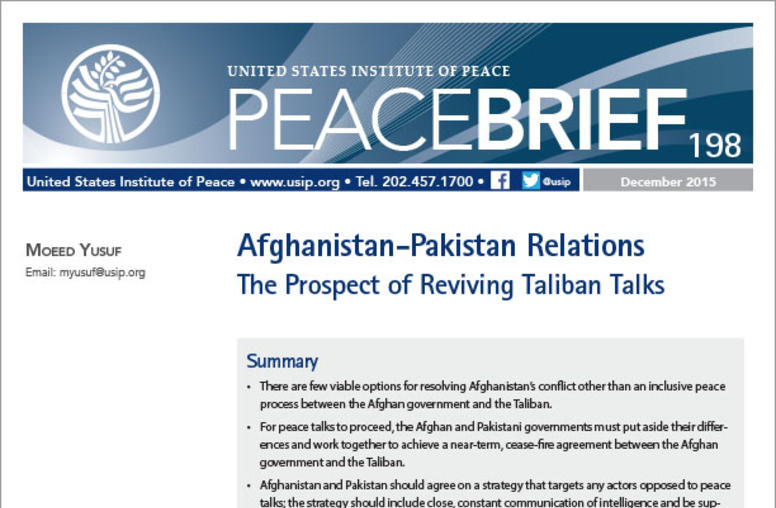 Afghanistan-Pakistan Relations: The Prospect of Reviving Taliban Talks