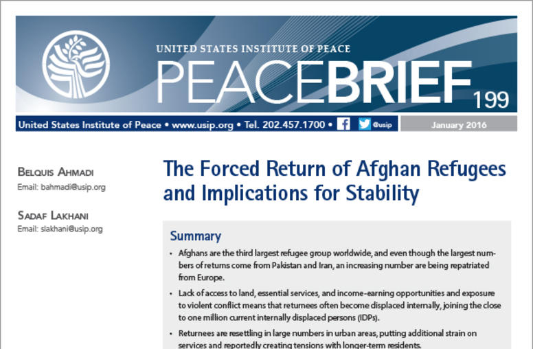 The Forced Return of Afghan Refugees and Implications for Stability