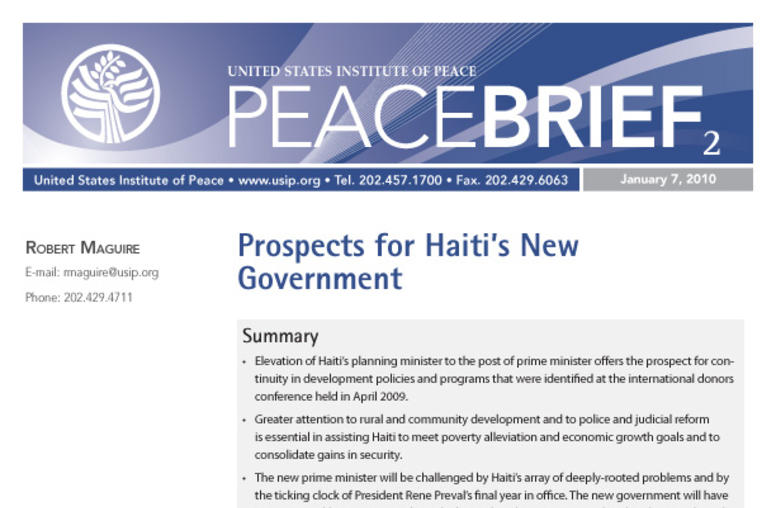 Prospects for Haiti's New Government