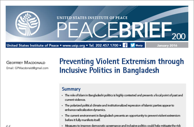 Preventing Violent Extremism through Inclusive Politics in Bangladesh