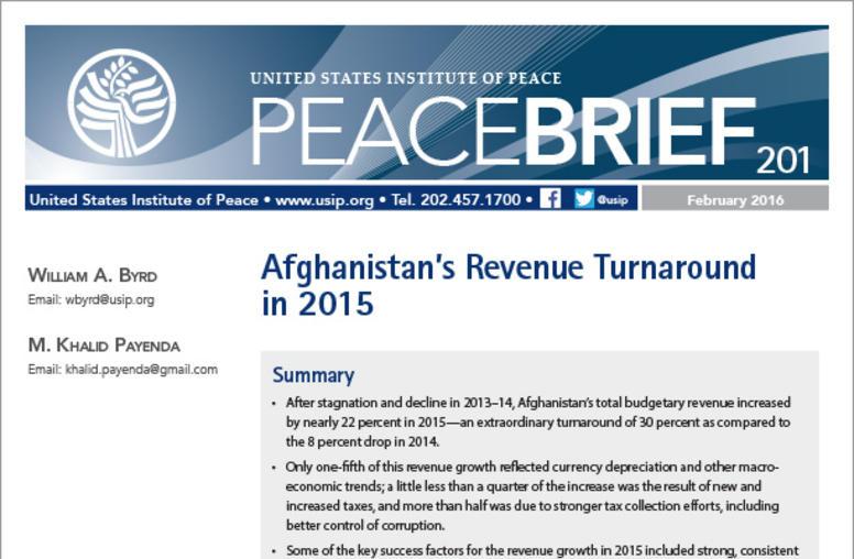Afghanistan's Revenue Turnaround in 2015