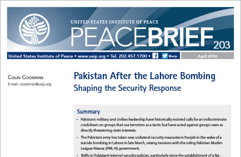 Pakistan After the Lahore Bombing: Shaping the Security Response