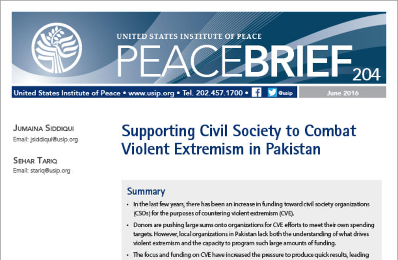 Supporting Civil Society to Combat Violent Extremism in Pakistan