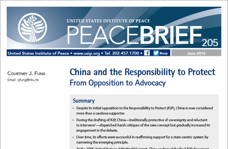 China and the Responsibility to Protect: From Opposition to Advocacy