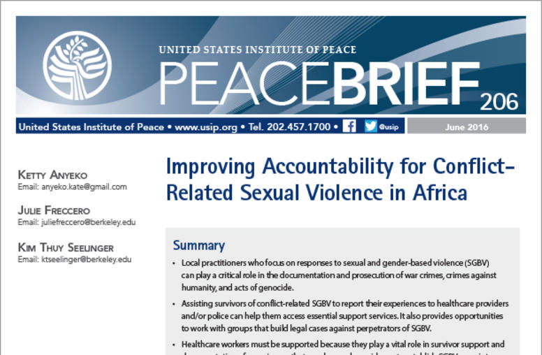 Improving Accountability for Conflict-related Sexual Violence in Africa