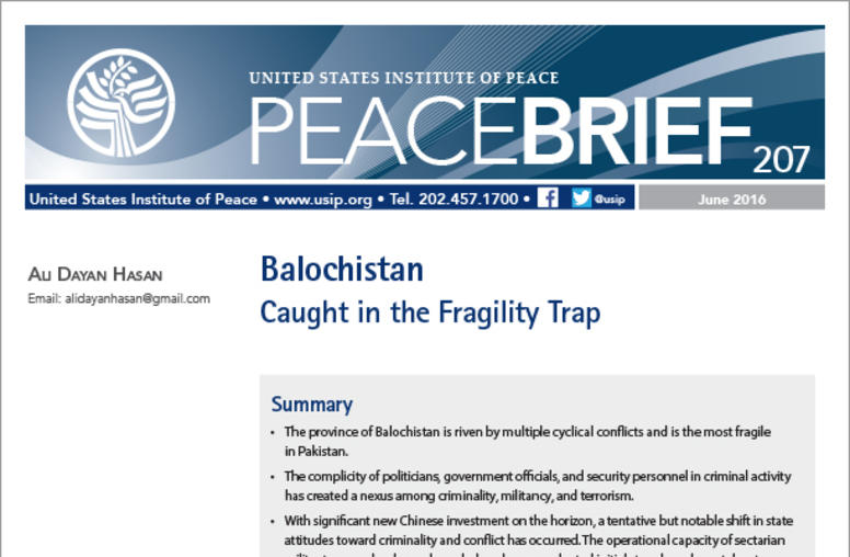 Balochistan: Caught in the Fragility Trap